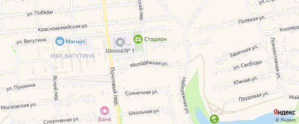Молодежная улица на карте Пролетарского поселка с номерами домов
