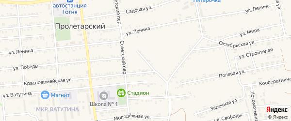 Красноармейский переулок на карте Пролетарского поселка с номерами домов