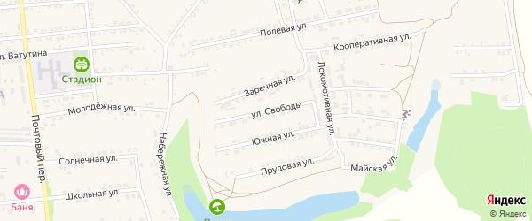 Улица Свободы на карте Пролетарского поселка с номерами домов