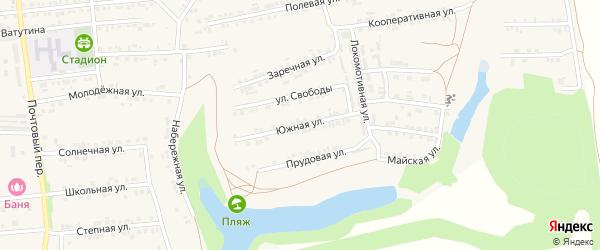 Южная улица на карте Пролетарского поселка с номерами домов