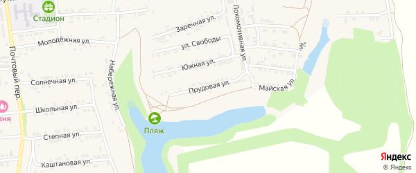 Прудовая улица на карте Пролетарского поселка с номерами домов