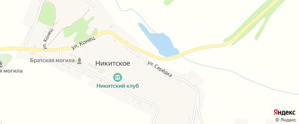 Улица Середка на карте Никитского села с номерами домов