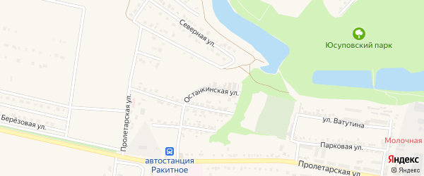 Останкинская улица на карте поселка Ракитного с номерами домов