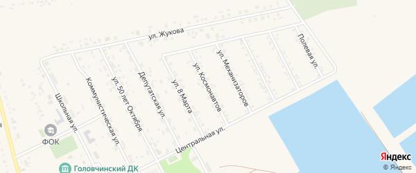 Улица Космонавтов на карте села Головчино с номерами домов