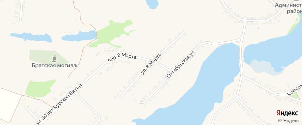 Улица 8 Марта на карте поселка Ракитного с номерами домов