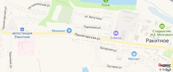 Пролетарская улица на карте поселка Ракитного с номерами домов