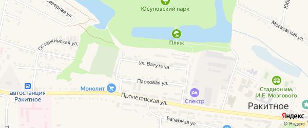 Улица Ватутина на карте поселка Ракитного с номерами домов