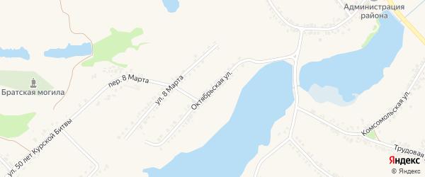 Октябрьская улица на карте поселка Ракитного с номерами домов