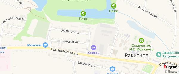 Парковый переулок на карте поселка Ракитного с номерами домов