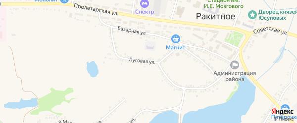 Луговая улица на карте поселка Ракитного с номерами домов
