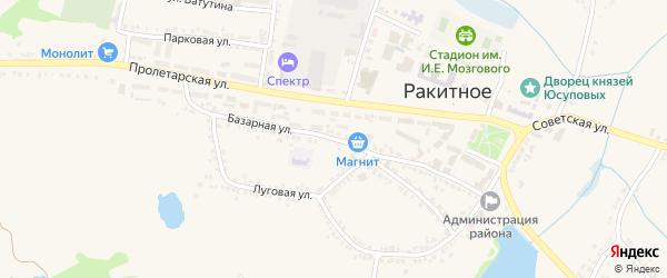 Базарная улица на карте поселка Ракитного с номерами домов