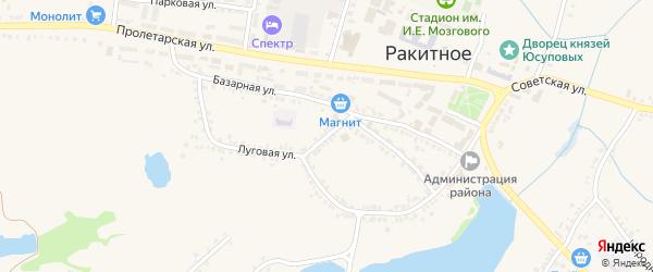 Базарный переулок на карте поселка Ракитного с номерами домов