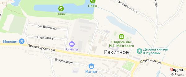 Пролетарский переулок на карте поселка Ракитного с номерами домов