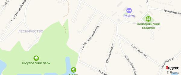 1-й Московский переулок на карте поселка Ракитного с номерами домов