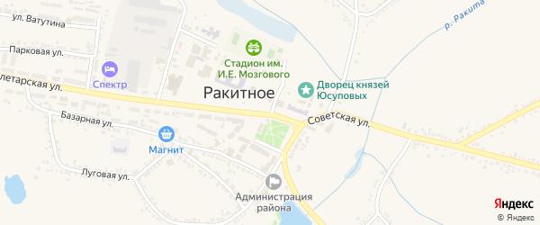 Средняя улица на карте поселка Ракитного с номерами домов