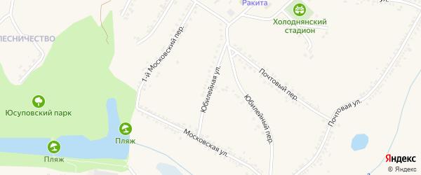 Юбилейная улица на карте поселка Ракитного с номерами домов