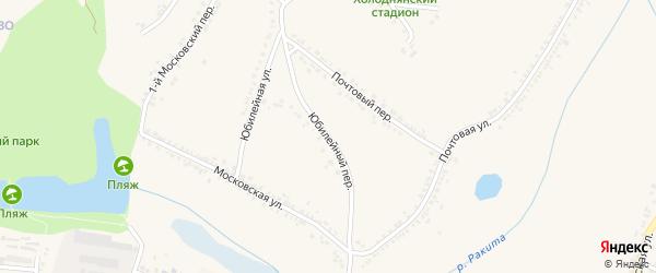 Юбилейный переулок на карте поселка Ракитного с номерами домов