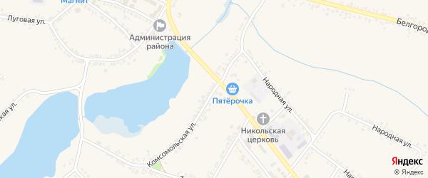 Комсомольская улица на карте поселка Ракитного с номерами домов