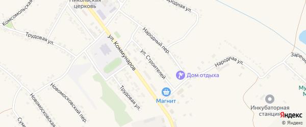 Улица Строителей на карте Пролетарского поселка с номерами домов
