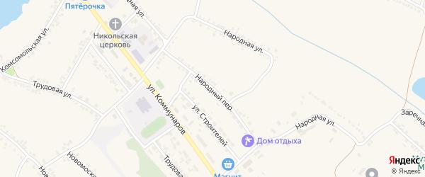 Народный переулок на карте поселка Ракитного с номерами домов