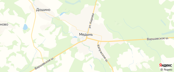 Карта Медыни с районами, улицами и номерами домов: Медынь на карте России