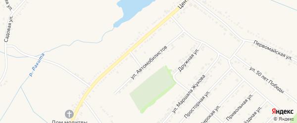 Улица Автомобилистов на карте поселка Ракитного с номерами домов