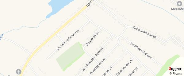 Дружная улица на карте поселка Ракитного с номерами домов