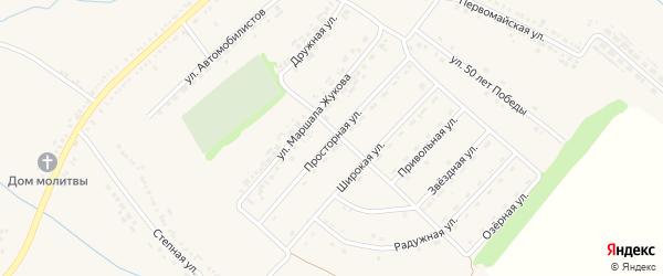 Просторная улица на карте поселка Ракитного с номерами домов