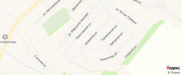 Широкая улица на карте поселка Ракитного с номерами домов