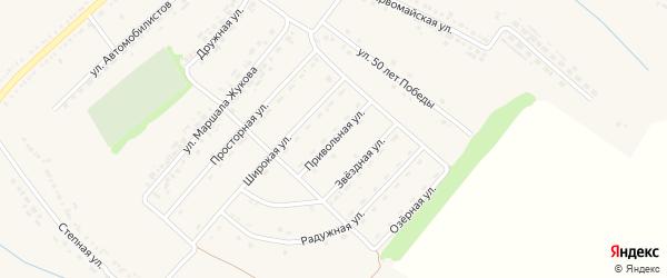 Привольная улица на карте поселка Ракитного с номерами домов