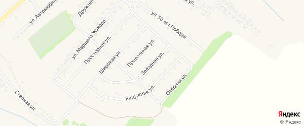 Звездная улица на карте поселка Ракитного с номерами домов