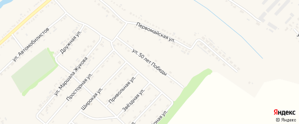 Улица 50 лет Победы на карте поселка Ракитного с номерами домов