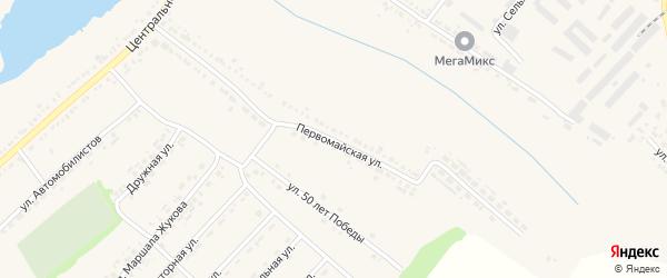 Первомайская улица на карте поселка Ракитного с номерами домов