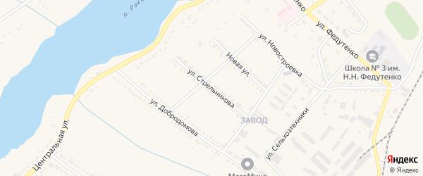 Улица Стрельникова на карте поселка Ракитного с номерами домов