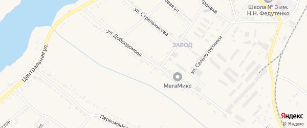 Улица Добродомова на карте поселка Ракитного с номерами домов