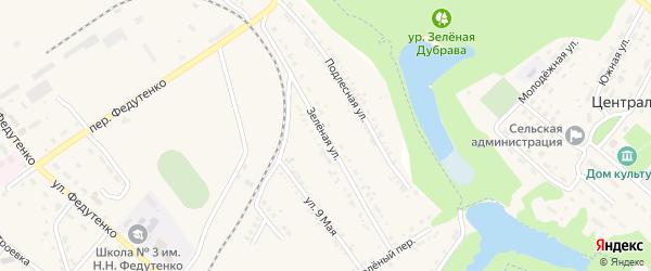 Зеленая улица на карте поселка Ракитного с номерами домов
