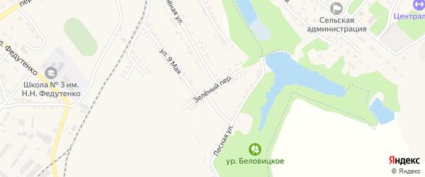 Зеленый переулок на карте поселка Ракитного с номерами домов