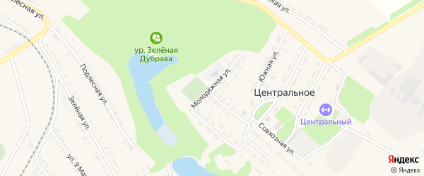Молодежная улица на карте Центрального села с номерами домов