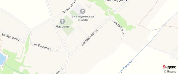 Центральная улица на карте села Зинаидино с номерами домов