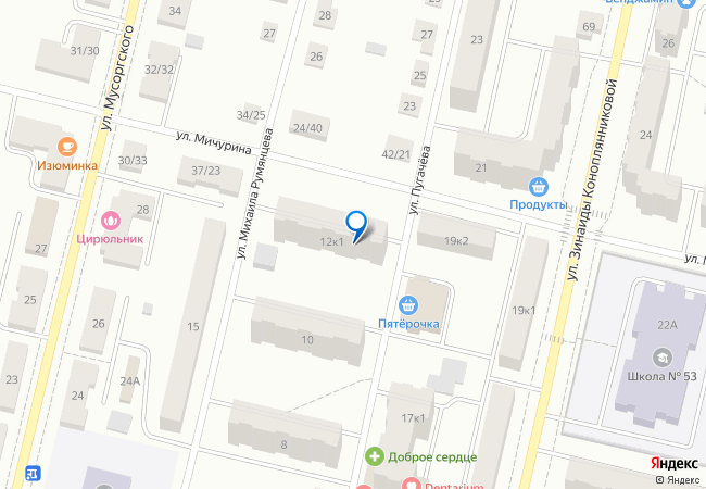 улица Михаила Румянцева, 12к1 на карте-панораме Твери, организации ... d07d67a6405