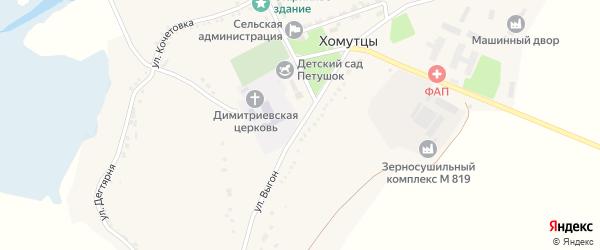 Улица Выгон на карте села Хомутцы с номерами домов