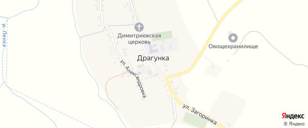 Центральная площадь на карте села Драгунки с номерами домов