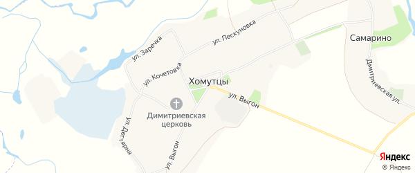 Карта села Хомутцы в Белгородской области с улицами и номерами домов