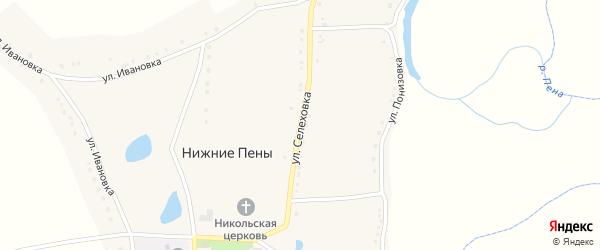 Улица Селеховка на карте села Нижние Пены с номерами домов