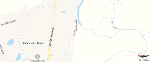 Улица Понизовка на карте села Нижние Пены с номерами домов