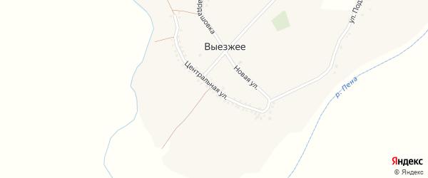 Центральная улица на карте Выезжего села с номерами домов