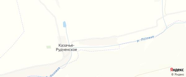 Карта Казачьего-Рудченского села в Белгородской области с улицами и номерами домов