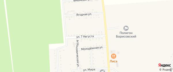 Улица 7 Августа на карте поселка Борисовки с номерами домов