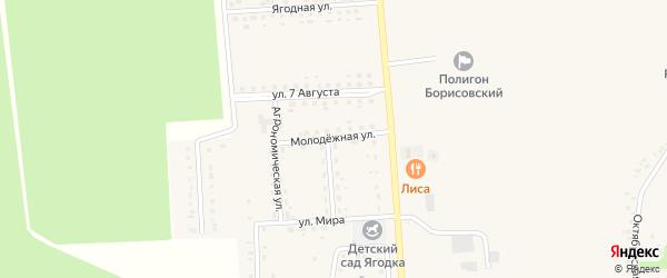 Молодежная улица на карте поселка Борисовки с номерами домов