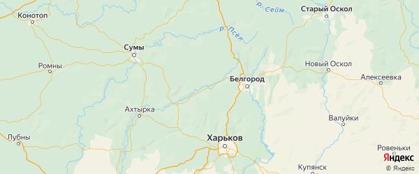 Карта Борисовского района Белгородской области с городами и населенными пунктами